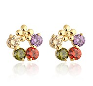 Women New Style Fashion Flower Shaped Multi-color Design Earrings