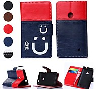 Smiling Face Pattern PU Leather Full Body Case with Card Slot for Nokia Lumia N520