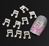 10pcs    Rhinestone Musical Note 3D DIY Alloy Jewel Accessories Nail Art Decoration