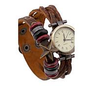 Women's Retro Weave Embossed Leather Bracelet Watch