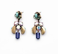 Cute Light Blue Beads Copper Plated Earrings (1 Pair)