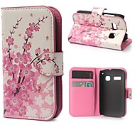 Plum Blossom Pattern PU Leather Case with Magnetic Snap and Card Slot for Alcatel One Touch Pop C3