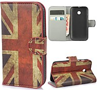 Special Design UK Flag Pattern PU Leather with Stand and Card Slot Case Cover for Motorola Moto E