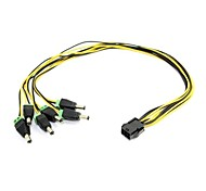 0.6m dois pés atx pci-e 6 pinos expresso para 5pcs plugs dc 5.5x2.1mm de mini-frete grátis gridseed