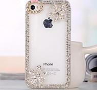 Luxus-Diamant-Blumen Hülle für iPhone 4 / 4S