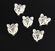 10pcs Fox Design White Drip Oil Clear Rhinestone 3D Alloy Nail Art Decoration