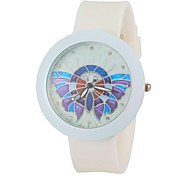 Women's Fashion Colorful Butterfly Round Dial White Silicone Band Wrist Watch Cool Watches Unique Watches