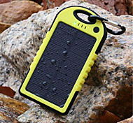 5000mAh Solar Flashlight Three Proofings External Battery Yellow for Mobile Devices with Key Ring