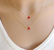 collana pendente di cristallo rosso doppia catena di moda shixin® (1 pc)