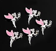 10pcs Pink Alloy Rhinestone Fairy Angel 3D Alloy Nail Art Decoration