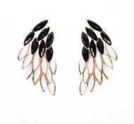Resin Stone Set Wing Drop Earrings