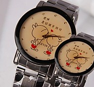 Women's Fashion Personality Kissing Steel Band Couples Watch