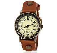 Reloj con caja de bronce pu cuarzo banda de las mujeres (colores surtidos)