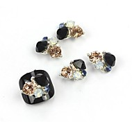 5PCS 3D Black Zircon Alloy Nail Art Decorations Nail Art Jewelry