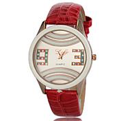 Frauen einfachen runden Zifferblatt Quarz Analog PU-Band beiläufige Uhr (verschiedene Farben)