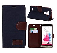Jeans Leather Folio Wallet Case for LG G3 -Denim Dark Blue