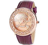 Frauendiamantvierpass-Muster-Leder-Band-Quarz-Armbanduhr (farbig sortiert)
