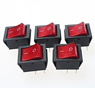 4-Pin Rocker Switches with Red Light Indicator 15A 250VAC (5-Piece Pack)