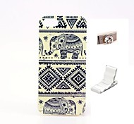Elephants Design Durable TPU Cover Case and Mini Display Stand with Diamond Dust Plug for iphone 5/5S