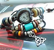 Women's Vintage Heart Dial Pendant Style Leather Handmade Weave Band Quartz Analog Bracelet  Watch