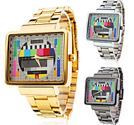 Men's Watch Dress Watch TV Pattern Square Case Steel Band Cool Watch Unique Watch