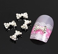 10pcs Tiny Pearl Rhinestone Bow Tie 3D Alloy Nail Art Decoration