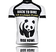 XINTOWN Men 's Panda Breathable Polyester Short Sleeve Cycling Jersey—Black+White