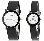 Couple's Casual Dial Black Rubber Band Quartz Wrist Watch (Assorted Colors)