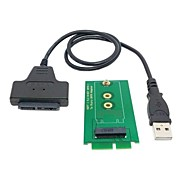 "usb 2.0 macho a 16pin micro sata hembra de 1,8 ""disco duro para el mini pci-e de 2 carriles 0.3m ssd ngff m.2 0.98ft"