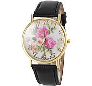 Women's Beautiful Flower Pattern Dial PU Band Quartz Wrist Watch(Assorted Colors)
