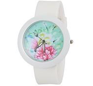 Mode bunten Blumen rundes Zifferblatt weiß Silikonband Armbanduhr Frauen