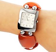 Women's Square Style Plastic Band Quartz Bracelet Watch