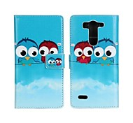 Cute Cartoon Owls PU Leather Full Body Case with Stand and Card Slot for LG G3 Mini
