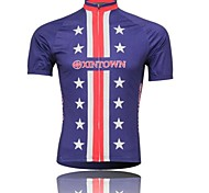 XINTOWN Men 's Purple star Breathable Polyester Short Sleeve Cycling Jersey -Purple+Red