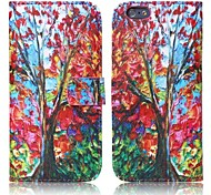 ENKAY Maple Tree Pattern Oil Painting Style Protective Case with Stand and Card Slots for iPhone 6