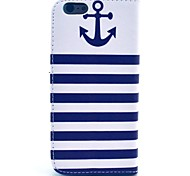 Striped Anchor Pattern PU Leather Cover with Stand and Card Slot for iPhone 6/6S