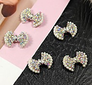 10pcs Bling AB Crystal Rhinestone Bowtie with Pearl 3D Alloy Nail Art Decoration
