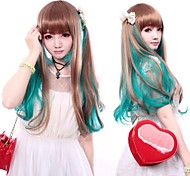 Zipper Forest Fairy Brown And Green Long Straight Sweet Lolita