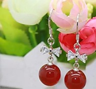 Fashion Red Sterling Silver Earrings Natural Agate  Drop Earrings