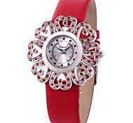time100 mujeres románticas patrón de flor del sol de diamantes de imitación reloj de cuarzo correa de cuero genuino