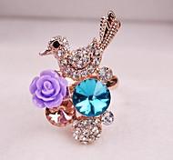 Luxury Women Star Rhinestone Bird Flower Adjustable Ring