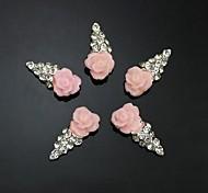 10шт розовый цветок форма мороженое 3d горный хрусталь DIY аксессуары ногтей украшения