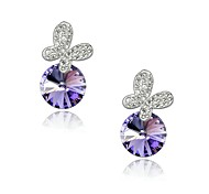 18K Platinum Plated Austria Purple/Blue/Pink Crystal Noble Bowknot Earrings