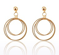 Lureme®Simple Style Four Loops Alloy Earrings