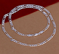 Simple Geometry Shape Copper Silver Plated 4MM  24 Inch Necklace For Mens(Silver)(1Pc)