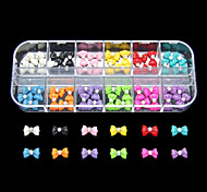 60PCS 12 Colours Lovely Bowknot Resin Nail Art Decoration