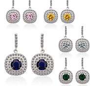 Hot Sale Five Color Choice Latest Brand Design Glittering CZ Paved Halo Drop Earrings