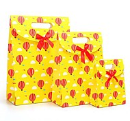 Coway 3Pcs Happy Childhood Yellow Balloon Gluing Bags Cartoon Party Paper Gift Bag Set