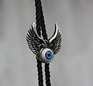 Fashion (Original designer Big Eye) Stainless Steel Nylon and Viscose Rope Tie (Silver-Blue)(1 Pc)
