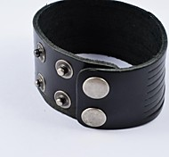 Fashion Men's Black Wide Leather Bracelets